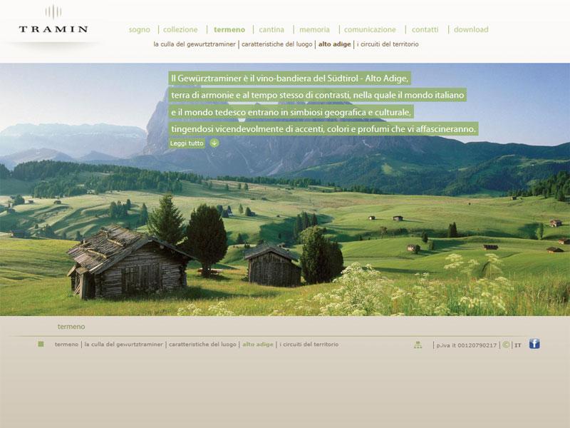 Sito web Cantina Tramin: pagina Territorio