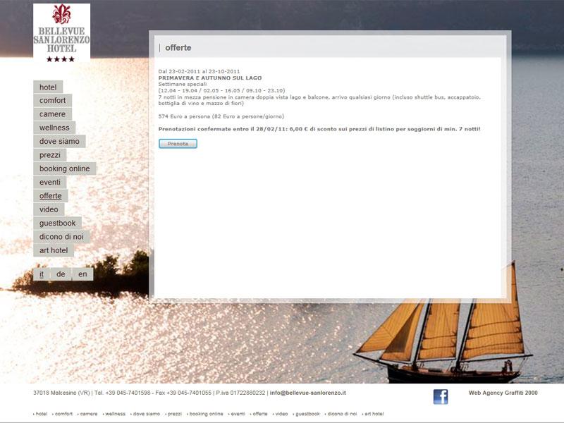 Sito web Hotel Bellevue San Lorenzo: pagina OFFERTE