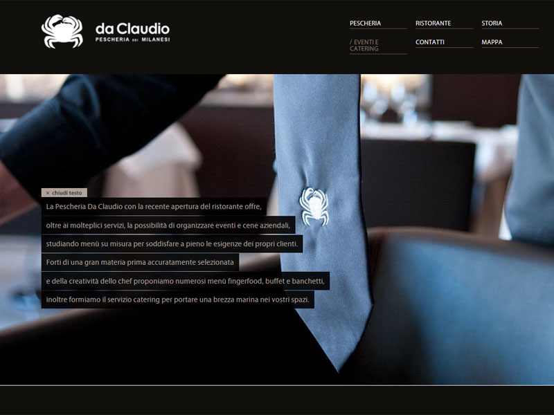 Sito web Pescheria Da Claudio: pagina Eventi e catering