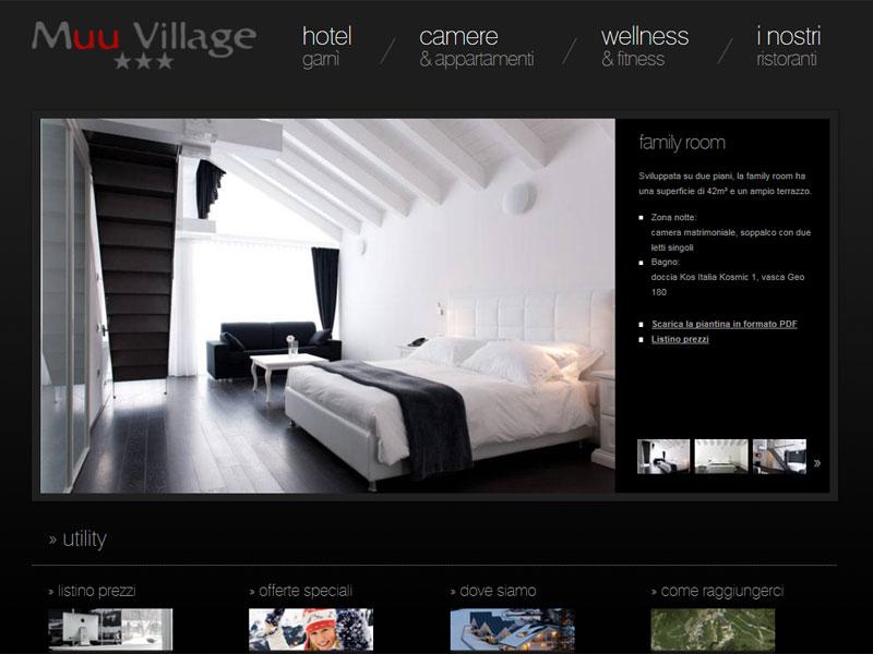 Sito web Muu Village: pagina CAMERE & APPARTAMENTI