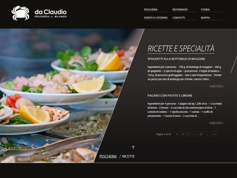 Sito web Pescheria Da Claudio: pagina Ricette e specialità