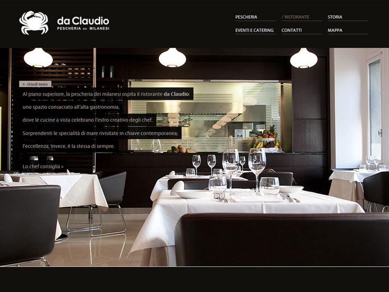 Sito web Pescheria Da Claudio: pagina Ristorante
