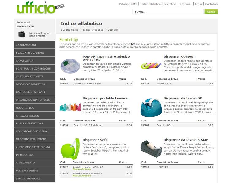 La pagina del catalogo prodotti di Ufficio.com dedicata agli scotch
