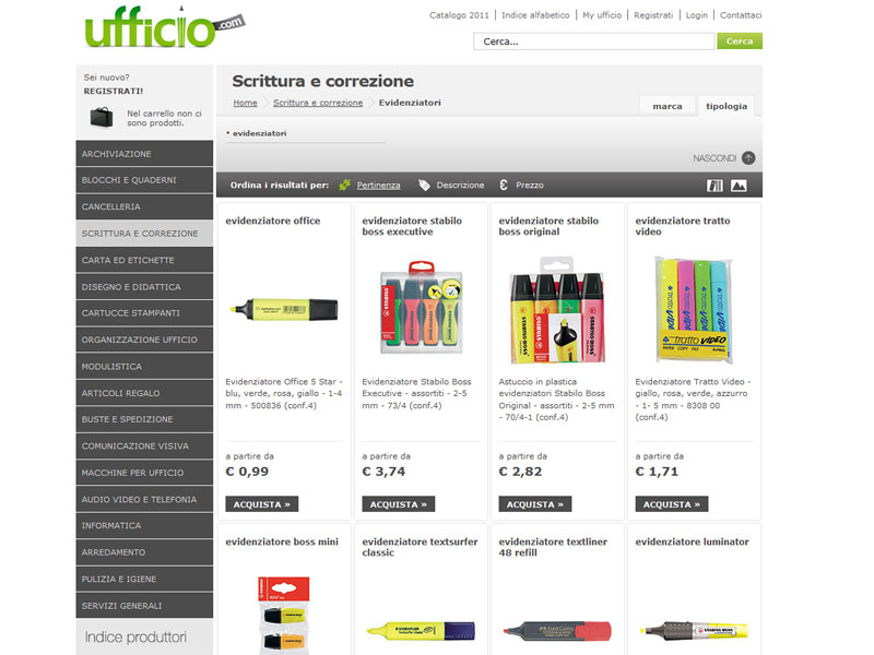 La pagina del catalogo prodotti di Ufficio.com dedicata agli evidenziatori