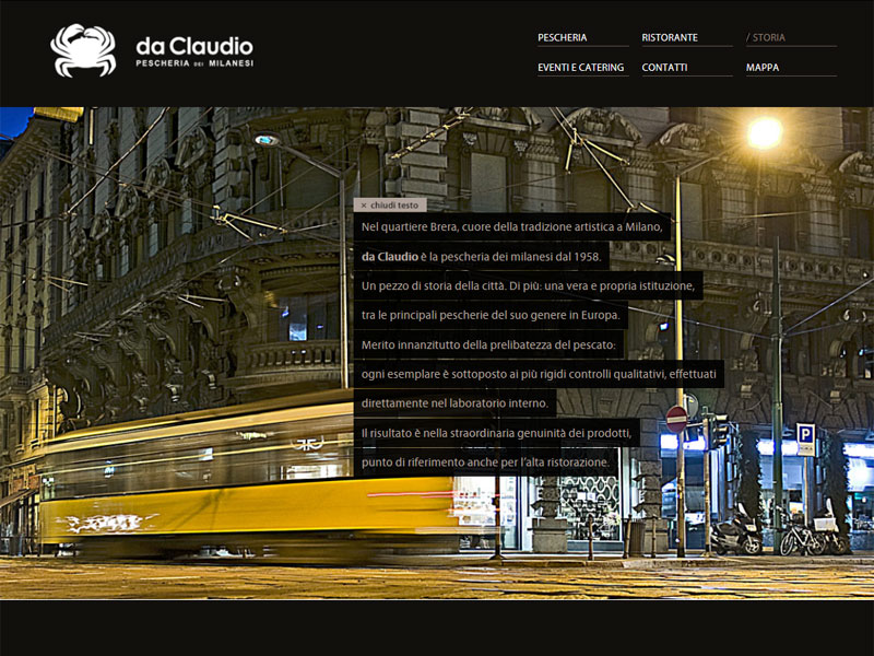 Sito web Pescheria Da Claudio: pagina Storia