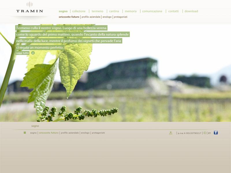 Sito web Cantina Tramin: pagina Orizzonte futuro