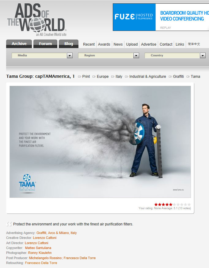"Campagna TAMA ""capTAMAmerica"" su Ads of the World"