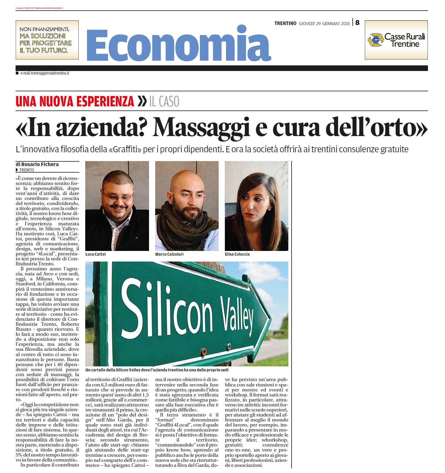 Il progetto 4Local di GRAFFITI sulle pagine del Trentino