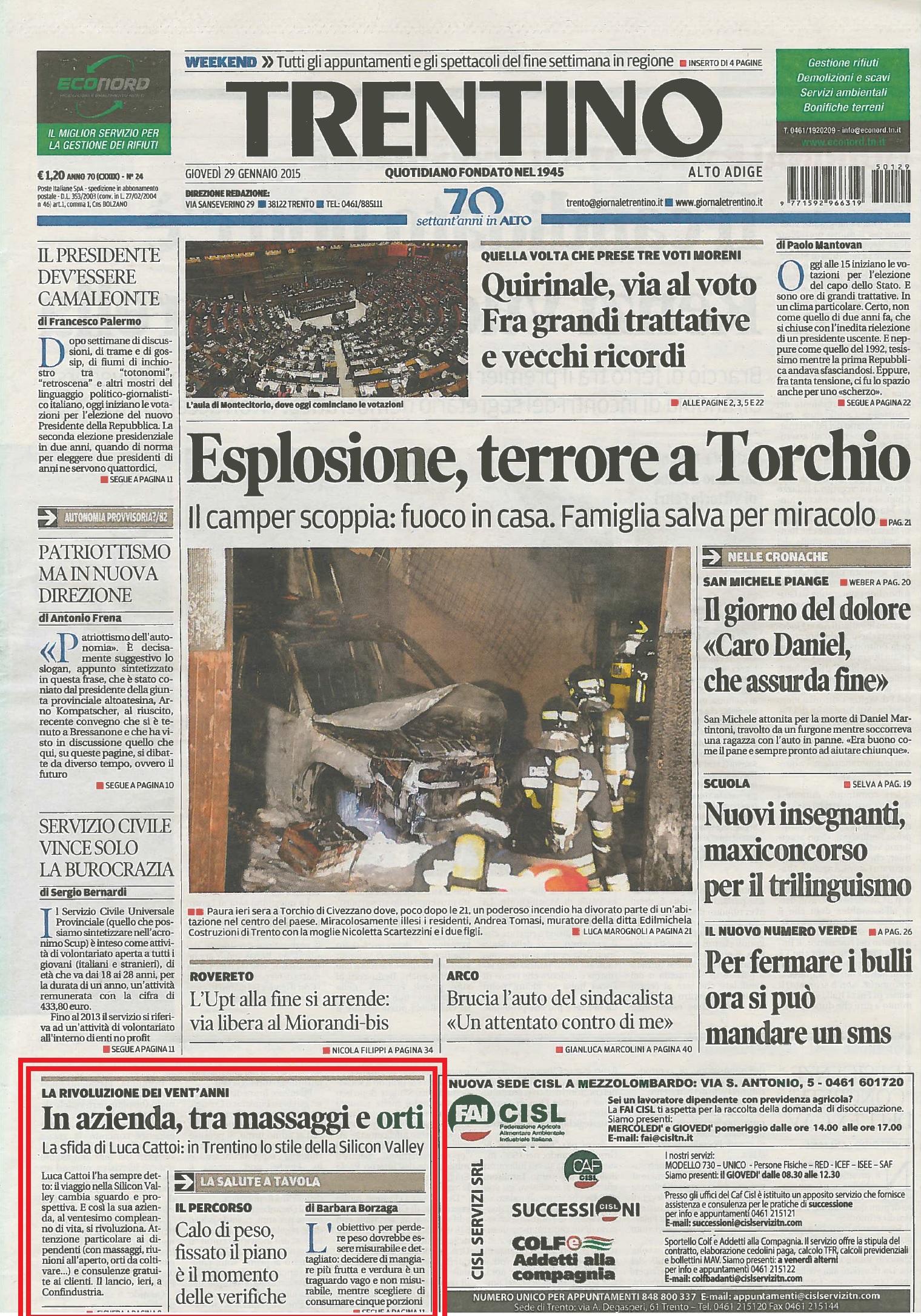 Il progetto 4Local di GRAFFITI sulla prima pagina del Trentino